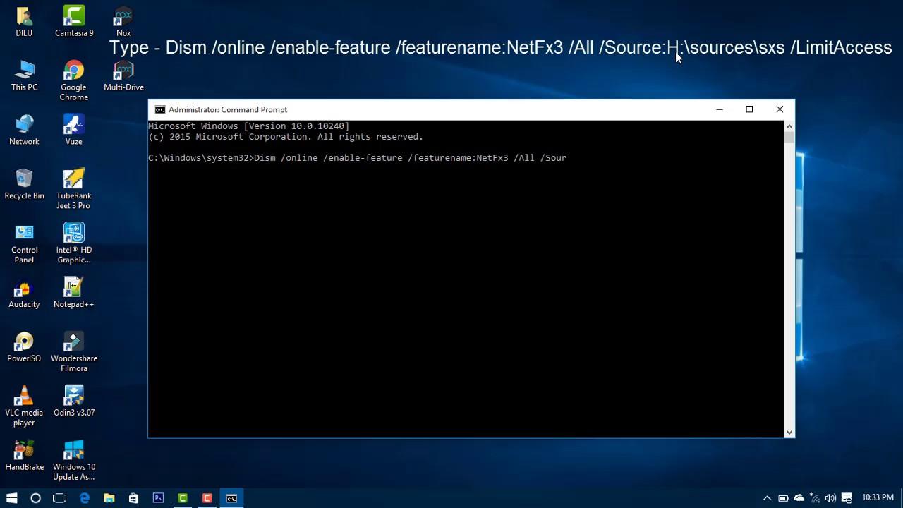 .net framework 3.5 windows 10 dism command
