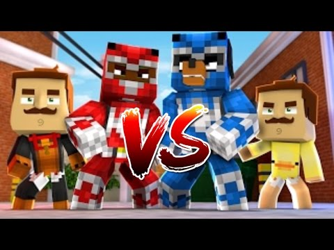 Minecraft - HELLO NEIGHBOR Vs POWER RANGERS - Little Club Baby Max - w/ Tiny Turtle, Donut
