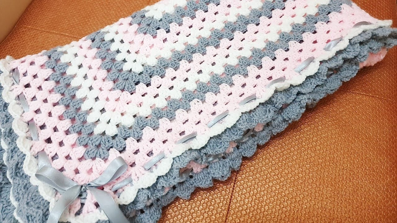 Crochet Pink Gray Grannys Square Baby Blanket Youtube