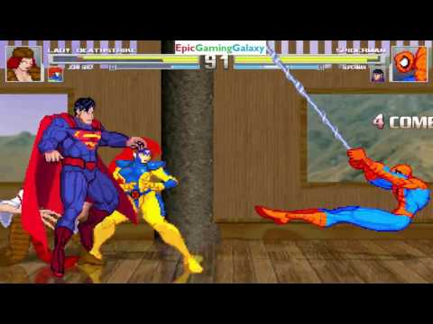Superman And Spider-Man VS Lady Deathstrike And Jean Grey In A MUGEN Match / Battle / Fight