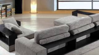 Anthem   Fabric Modern Sectional With Wood Shelves