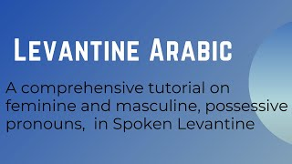 A comprehensive tutorial on feminine and masculine, possessive pronouns,  in Spoken Levantine