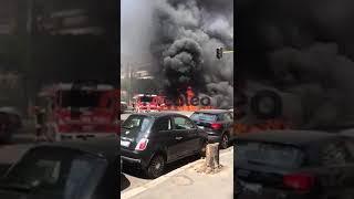 Incendio di un edificio a Roma in piazza Cantù
