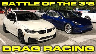 Battle of the 3s Tesla Model 3 Dual Motor Performance vs BMW M3 1/4 Mile Drag Racing + VBOX Data