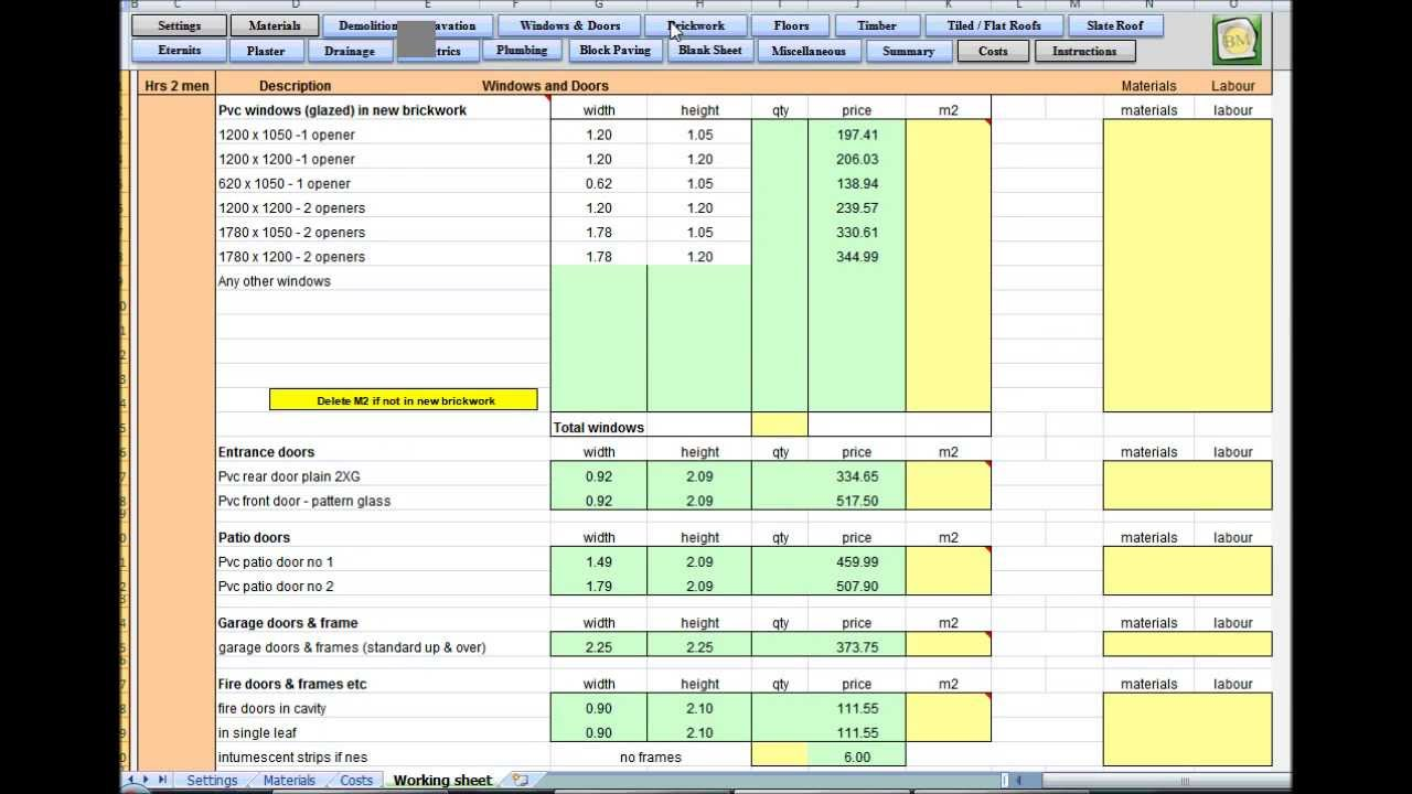 Builders Mate Estimating Software Demolition Excavation Tutorial - Demolition estimate template