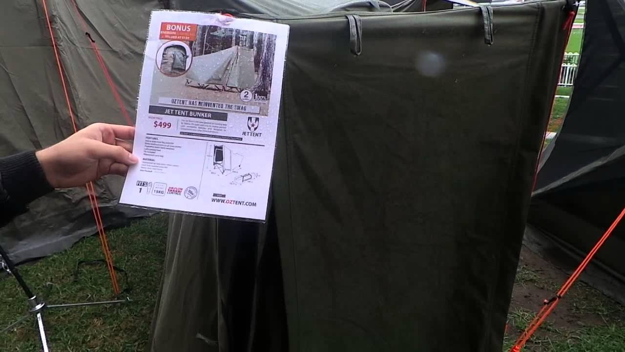 Oztent Jet Tent Bunker at the Rosehill Show-The NSW Caravan C&ing RV and Holiday Supershow - YouTube & Oztent Jet Tent Bunker at the Rosehill Show-The NSW Caravan ...