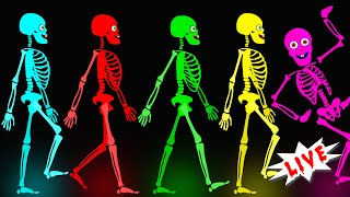 🔴 Midnight Magic - Five Crazy Skeletons Funny Musical Spooky Dance Songs for Kids | LIVE