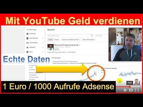 Mit Youtube Geld verdienen: 100 Euro pro Monat mit Adsense Werbung in einem Kanal  Teil 1