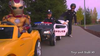 sidewalk cops pull over iron man scene from superhero race