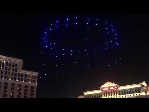Intel Drone Light Show Bellagio Fountains Las Vegas CES 2018