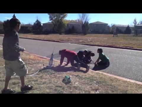 Water Rocket Launching at Ranch View Middle School in Techn