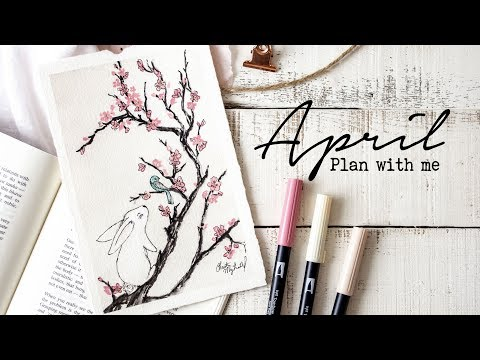 Plan with me  April 2018 Bullet Journal Setup  Cherry Blossom Tutorial!