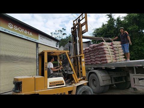 🔴 ô tô tải ben khổng lồ chở xi măng    xe nâng làm việc   Giant dump truck truck carrying cement