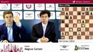 Magnus Carlsen leads Qatar 2015 after beat Li Chao - Qatar Masters Open 2015