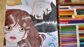 Drawing Futaba Yoshioka e Kou Tanaka (Amor está no ar #1) Ao Haru Ride