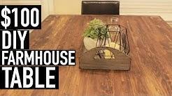$100 DIY FARMHOUSE TABLE | DINING ROOM MAKEOVER