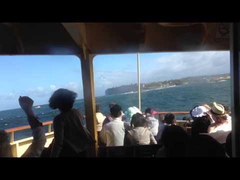 Manly Ferry crossing Sydney Heads in Big Seas
