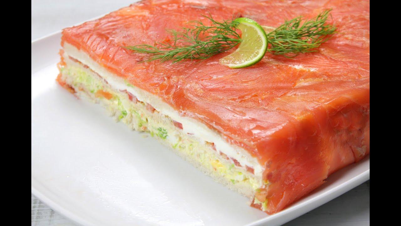 Pastel de salm n y pan de molde youtube for Canape de salmon ahumado