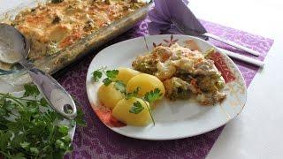 Запеканка из брокколи и цветной капусты с курицей