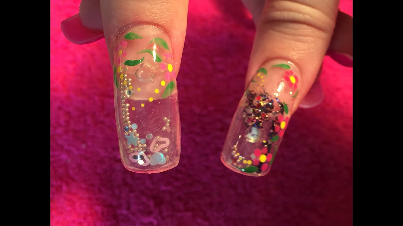 acrylic nails aquarium nail