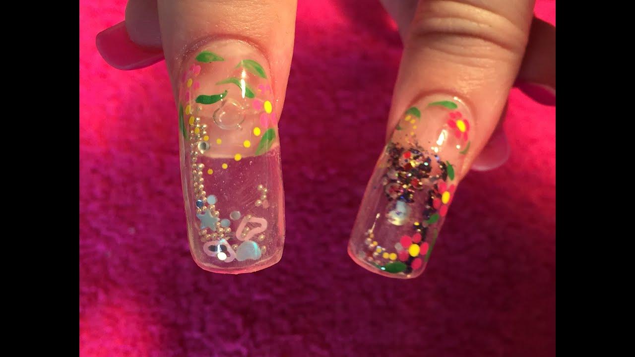 Acrylic Nails how to aquarium nail - YouTube
