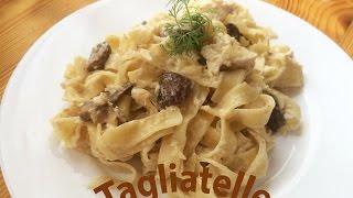 Pasta Tagliatelle/Тальятелле в сметанном соусе с грибами и куриным мясом
