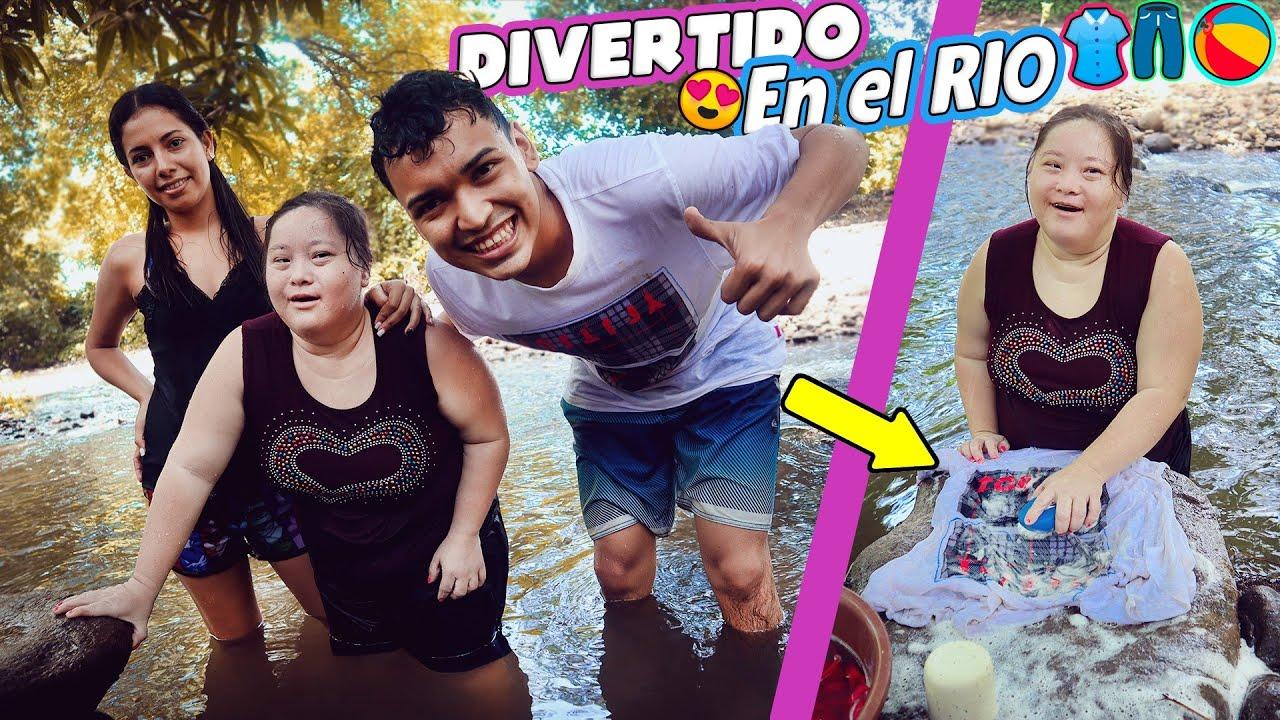 CHOL LAVA SU ROPA EN EL RIO CON ALFREDO Y YUDI