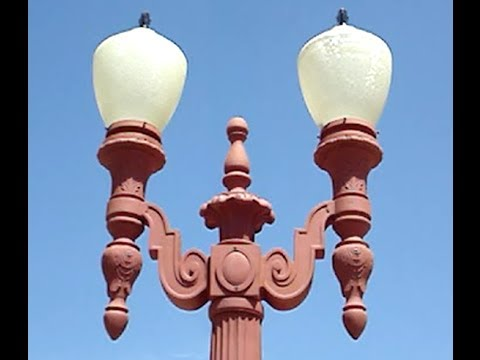 vintage lamp post double head cast iron street light for sale. Black Bedroom Furniture Sets. Home Design Ideas