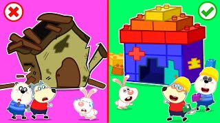 Baby Wolf Build Giant Lego Playhouse For Rabbit - LEGO Friendship House | Wolfoo Channel