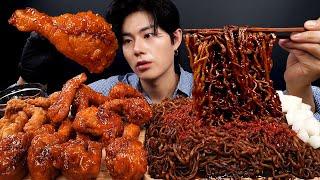 SUB) 짜짜로니, 페리카나 양념치킨, 꼬들목 리얼사운드_Jjapaghetti, Spicy Seasoned Chicken, Boneless Chicken eck Realsound