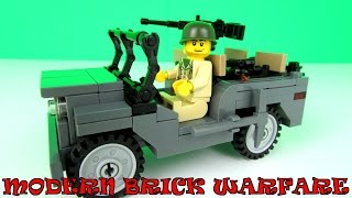Modern Brick Warfare US Army Willys Jeep Custom LEGO Kit Toy Review + Fun With The Simpsons