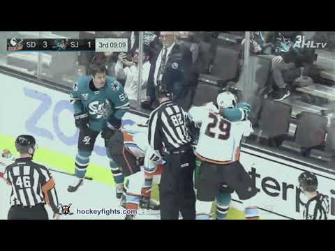 Maxime Comtois Vs Jeremy Roy February 05 2020 San Diego Gulls Vs San Jose Barracuda