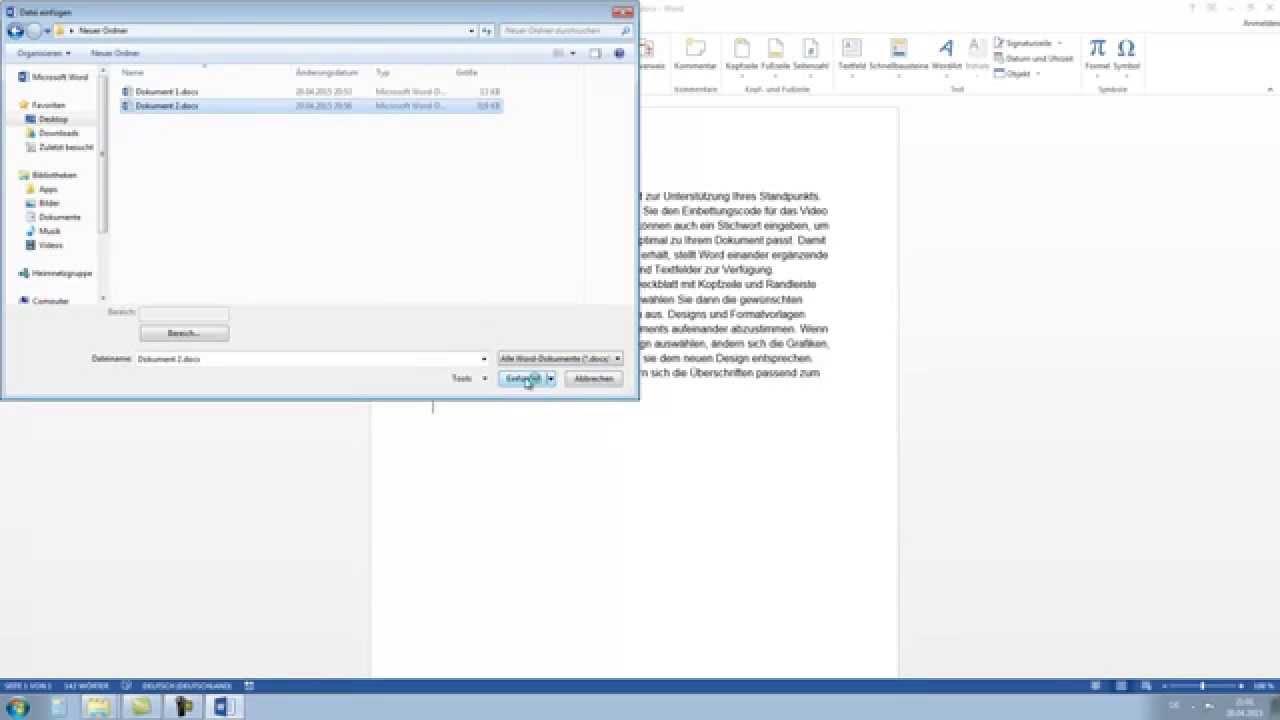Word 2010, 2013 - Mehrere Dokumente zusammenführen - YouTube