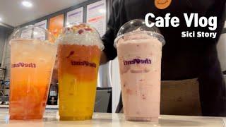 Cafe Vlog/더벤티 꿀맛 핑크피치 버블티, 딸기요…