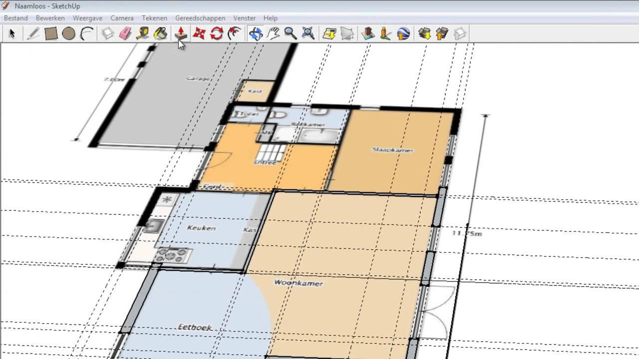 Plattegrond overtrekken in sketchup youtube for Plattegrond huis tekenen