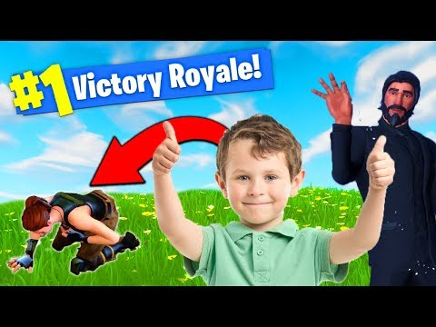HELPING 6 YR OLD *WIN* FIRST FORTNITE GAME!