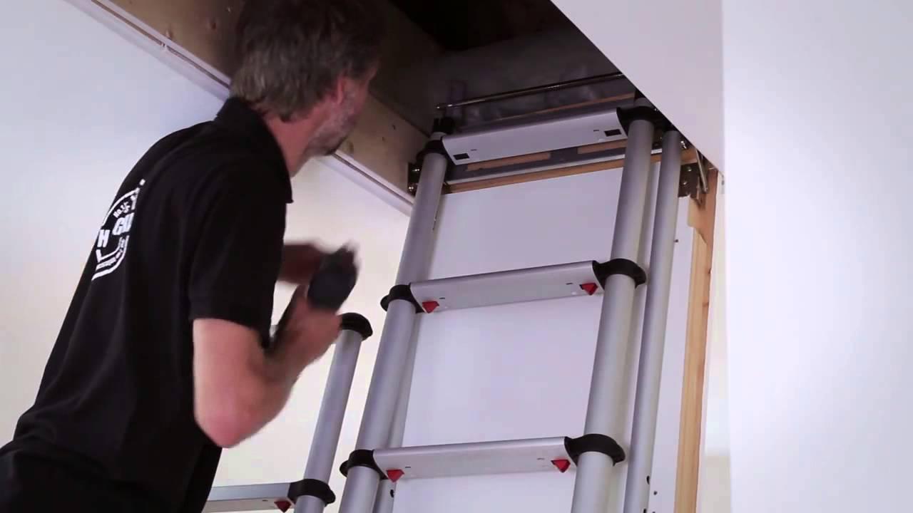 Echelles de meunier telesteps installation youtube - Leroy merlin echelle escamotable ...