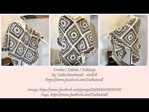 Learn How To Crochet Granny Square Poncho Bohème – 1. part – Step by step for beginners