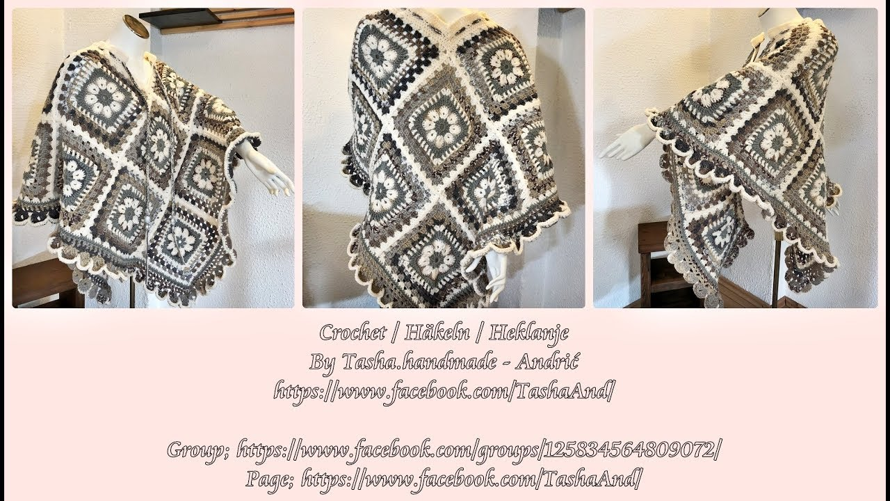 Learn How To Crochet Granny Square Poncho Bohme 1 Part Step By