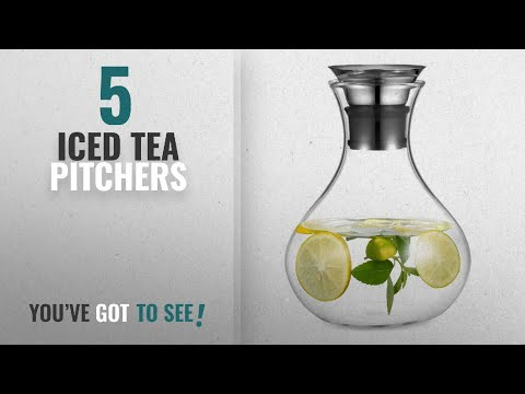 top-10-iced-tea-pitchers-[2018]:-ecooe-water-pitcher-1.5-litre-glass-water-carafe-with-stainless
