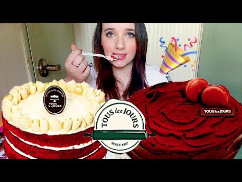 5K SUBS = 2 WHOLE CAKES 🍰 CHOCOLATE & RED VELVET 🎂 MUKBANG 뚜레주르 케익 먹방