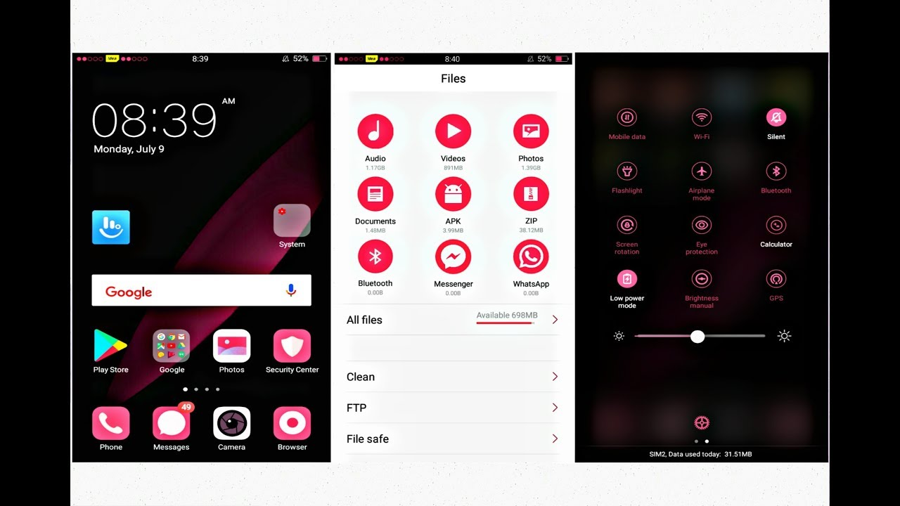 OPPO (ColorOS) #Theme Pink Red  OPPO A37 A3s f7 - YouTube