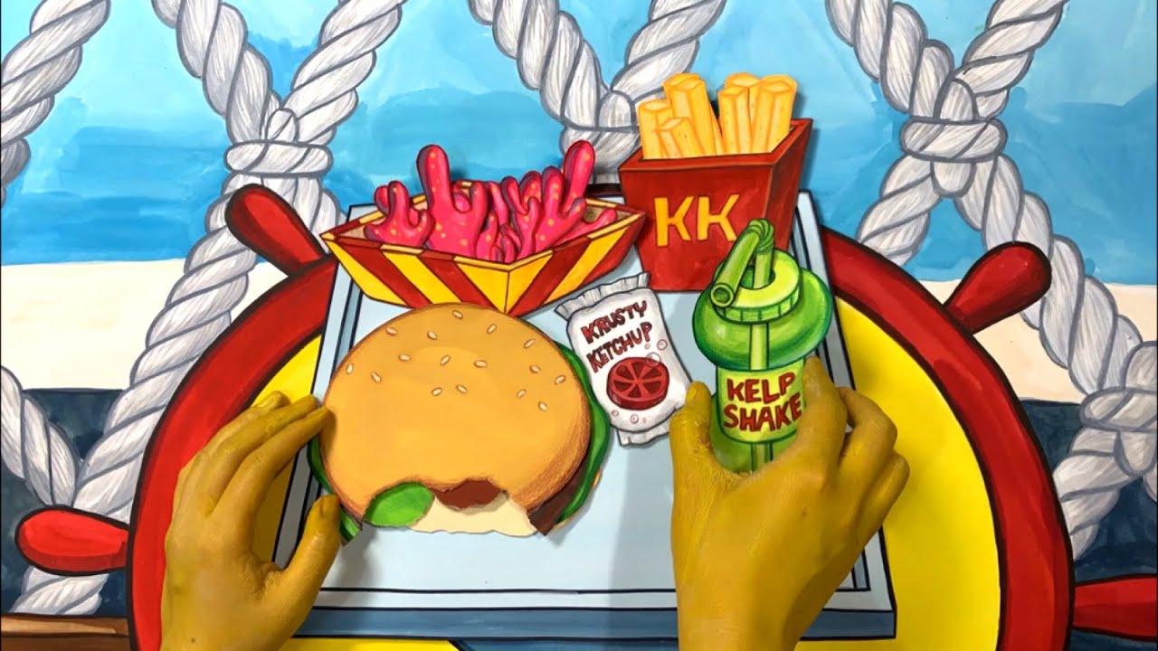 STOPMOTION Spongebob makes burgers in Krusty Krab! 스펀지밥 집게리아에서 버거만들기 스톱모션!