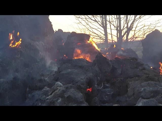 Pożar Stogu Siana - Pelplin Wybudowanie - 12.04.2020 - godz 19.40