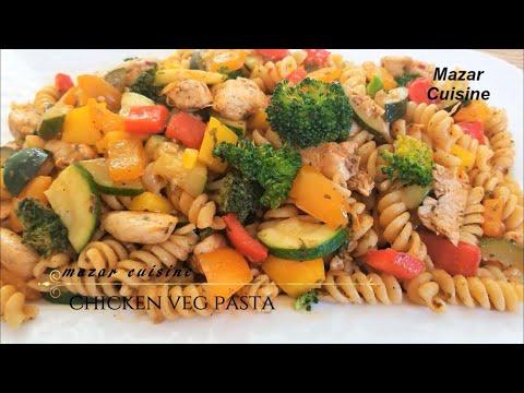 CHICKEN & VEGETABLE PASTA مکرونی با مرغ و سبزیجات