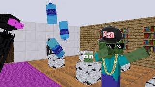 Monster School - BOTTLE FLIP Challenge - Minecraft Animation