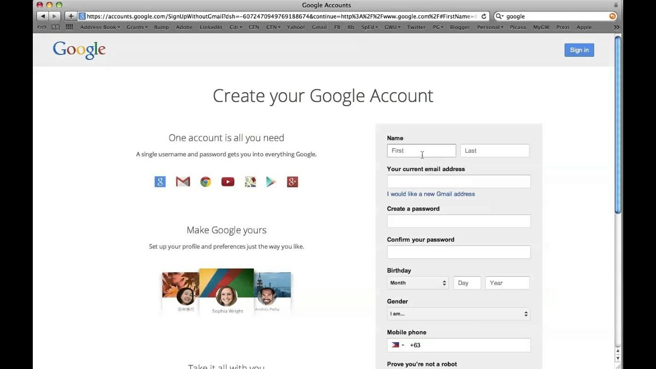 make a google account with existing email