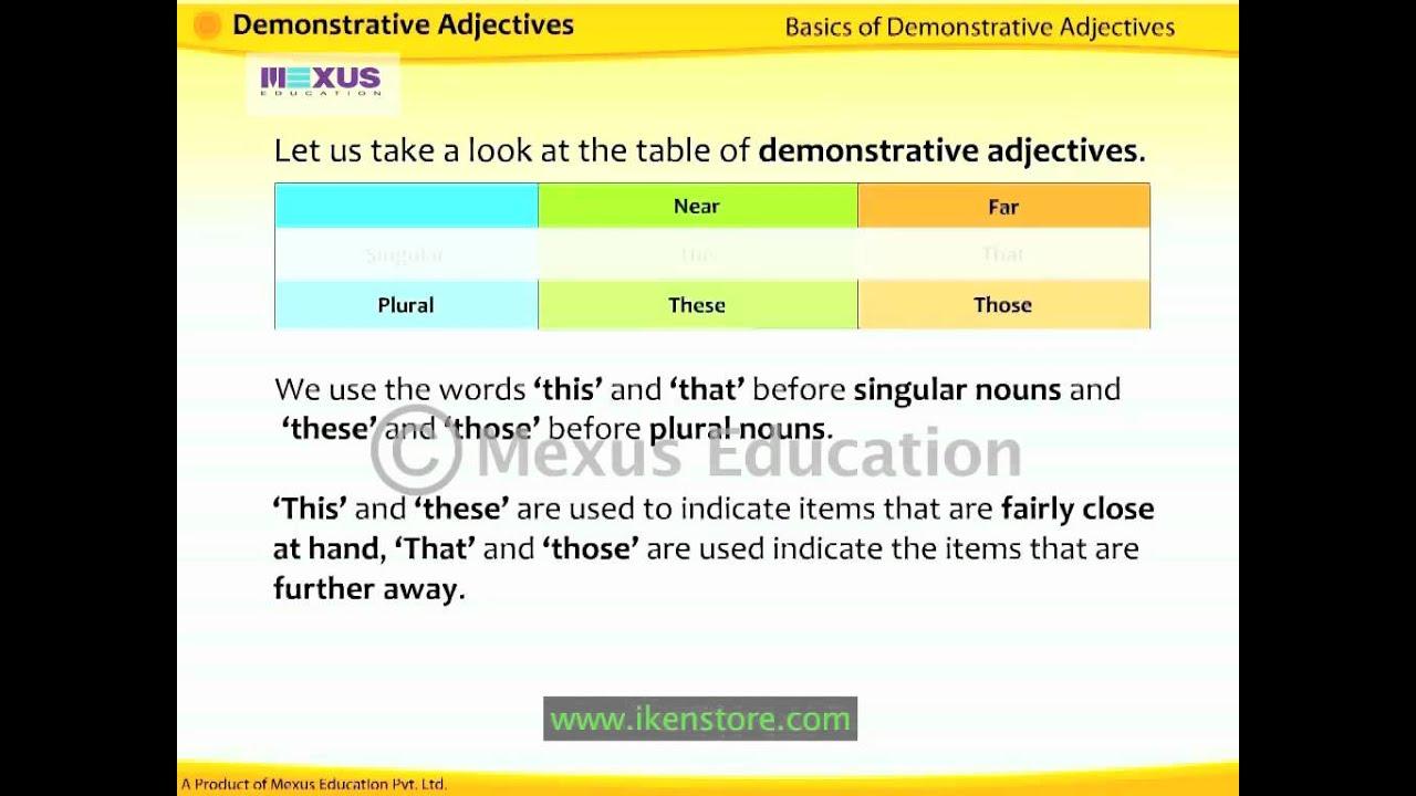 demonstrative adjectives youtube