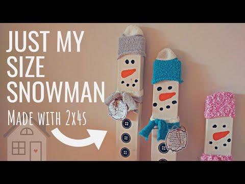 TUTORIAL: Leaning My Size Snowman Craft   DIY Just as tall as me Snowmen   Wooden Snowman   Winter