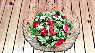Салат из помидоров и огурцов! Простой рецепт!